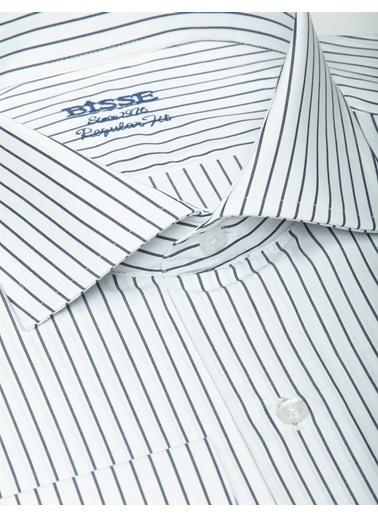 Bisse Uzun Kollu Italyan Yaka Klasik Gömlek Lacivert
